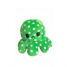 Caracatita reversibila EDAR® jucarie de plus doua culori, 20x15 cm, model cu buline, verde