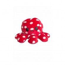 Caracatita reversibila EDAR® jucarie de plus doua culori, 20x15 cm, model cu buline, rosu