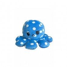 Caracatita reversibila EDAR® jucarie de plus doua culori, 20x15 cm, model cu buline, albastru