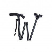 Baston telescopic SIKS® pentru sprijin, pliabil cu lanterna si pivoti stabilizatori