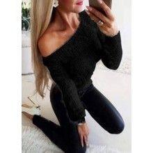 Pulover dama pufos negru