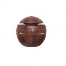 Umidificator portabil EDAR® difuzor aromaterapie, 130 ML, alimentare prin cablu usb, culori led, culoare lemn inchis