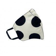 Masca de protectie SIKS® din bumbac pentru adulti, strat dublu, reutilizabila, bej cu buline negre