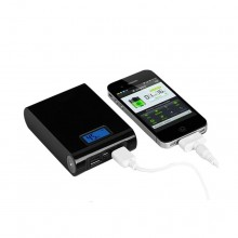 Baterie externa SIKS® compatibila Samsung, acumulator portabil Power Bang, 12000 mAh, cu afisaj LED si 2 iesiri USB de 1A si 2A