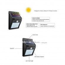 Lampa exterior SIKS® cu incarcare solara, 20 LED-uri , cu senzor de miscare,neagra