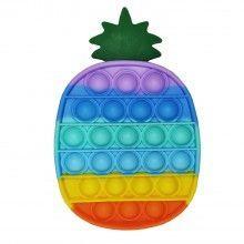 Jucarie senzoriala antistres SIKS® din silicon, pentru copii, impermeabila, forma ananas, curcubeu