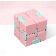 Jucarie interactiva EDAR® cub antistres cu 8 blocuri, 40x40 mm, roz/turcoaz