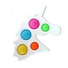 Jucarie senzoriala EDAR® antistres cu bule de silicon, forma unicorn, alb