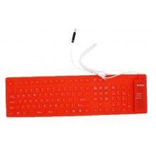 Tastatura flexibila din silicon rosie