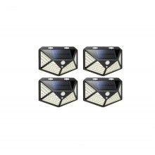 Set 4 lampi EDAR® incarcare solara, senzor de miscare, 3 moduri de iluminare