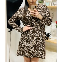 Rochita dama animal print cu volanase petrecute