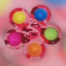 Jucarie EDAR® antistres cu 5 bule de silicon, joc interactiv, model army roz