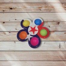 Jucarie antistres SIKS® rotativa, interactiva, pentru adulti si copii, model multicolor blue