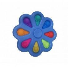 Jucarie EDAR® antistres cu 8 bule de silicon, joc interactiv, model albastru multicolor