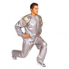 Costum sauna SIKS®, unisex, premium, pentru slabit, masura M, culoare gri, format din 2 parti