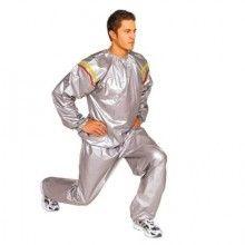 Costum sauna SIKS®, unisex, premium, pentru slabit, masura XXL, culoare gri, format din 2 parti