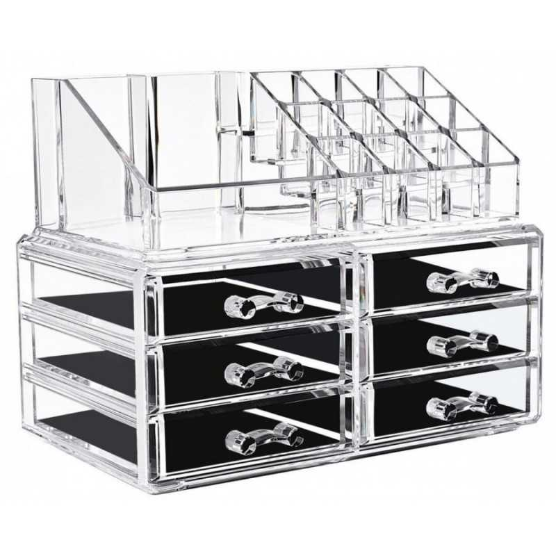 Suport transparent Organizator pentru Cosmetice si Bijuteri, 16 Compartimente