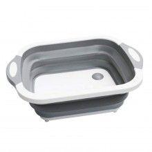 Bol multifunctional 3 in 1 SIKS®, tocator, cos depozitare, vas pentru spalare, plastic, SCT01, Gri