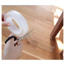 Banda dublu adeziva SIKS®, reutilizabila dupa spalare, culoare transparenta, lungime 1m