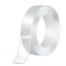 Banda dubla adeziva SIKS®, nu lasa urme pe pereti, reutilizabila, alb-transparenta, 3m