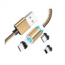 Incarcator magnetic SIKS® CXS2504 cu 3 capete interschimbabile tip C, microUSB, iOS, bej