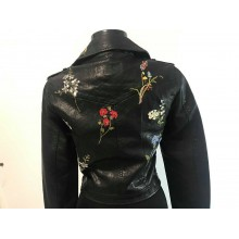 Geaca piele dama neagra brodata cu model floral masura S