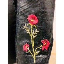 Geaca piele dama neagra brodata cu model floral masura XL