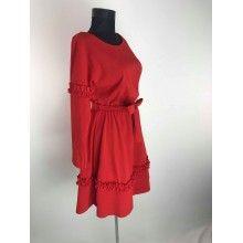 Rochie dama scurta rosie cu maneca lunga si cordon in talie
