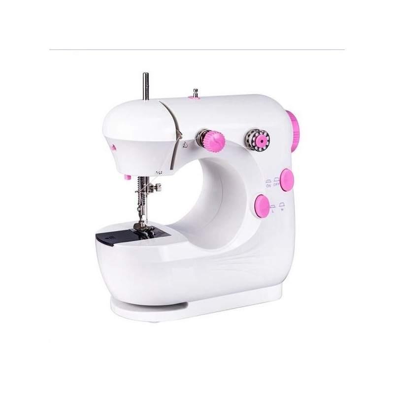 Masina de cusut SIKS®, cu pedala, ace, 5 bobine de ata, portabila, alb/ roz