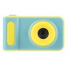Mini camera foto SIKS®, ideal pentru copii, galben cu albastru, HD, card de memorie 8 GB