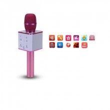 Microfon SIKS® Karaoke Wireless cu Bluetooth si boxa inclusa, autonomie 3-5h, Roz