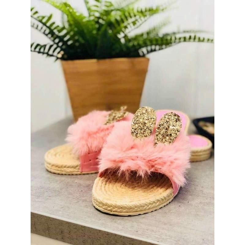 Papuci dama cu puf si urechi culoarea roz marimea 41