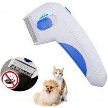 Pieptene electric SIKS® impotriva puricilor, pentru animale de companie, alb/albastru