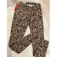Pantaloni slim fit dama imprimeu leopard