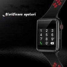 Ceas inteligent SIKS® cu curea din silicon, camera, functie bluetooth, negru/ rosu
