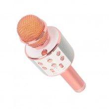 Microfon karaoke SIKS® profesional cu boxa inclusa, SD Card, USB, AUX, Rose Gold