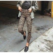 Pantaloni slim fit dama imprimeu leopard masura 28
