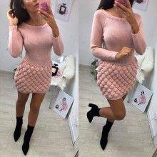 Rochie tricot BUBBLE roz