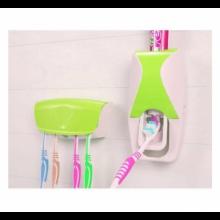 Dozator si suport SIKS® pentru pasta de dinti si periute, verde