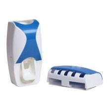 Dozator si suport SIKS® pentru pasta de dinti si periute, albastru