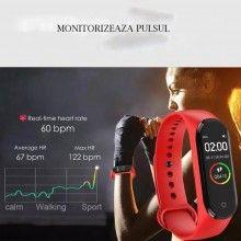 Bratara fitness SIKS® bluetooth, pedometru, notificari, model M5, rosu