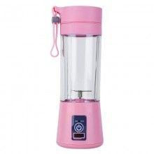 Mini blender portabil SIKS® 2 lame, 380 ml, roz