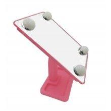 Oglinda SIKS® pentru machiaj, dreptunghiulara, cu lumini led, alimentare cu baterii, roz