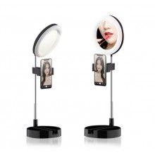 Lampa circulara rotunda SIKS® de machiaj, cu oglinda si suport telefon/accesorii, portabil, 64 leduri, negru
