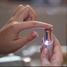 Epilator Facial SIKS® cu LED pe baterii, hipoalergenic, alb, portabil