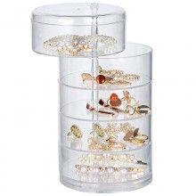 Organizator bijuterii SIKS® cu 5 sertare, stil bloc, transparent
