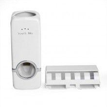 Dispenser SIKS® pentru pasta de dinti + suport pentru 5 periute, alb