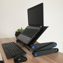 Masa laptop SIKS® multifunctionala din aluminiu, reglabila, suport pentru mouse, negru