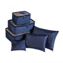 Set SIKS® 6 genti pentru organizarea si depozitarea bagajelor, albastru