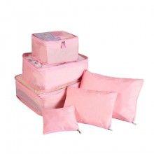 Set SIKS® 6 genti pentru organizarea si depozitarea bagajelor, roz